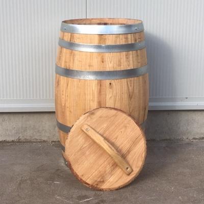 Kastanje houten portvat van 50 liter met los deksel geolied