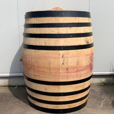 Eikenhouten wijnvat 400 liter met los deksel en zwarte banden
